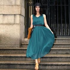 $12.40 Elegant Round Neck Sleeveless Solid Color Ankle Length Chiffon Expansion Dress For Women