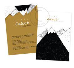 Geboortekaartje Jakob. Lijntekening in zwart - wit -bruin. Bergen - berglandschap. Birth Announcement Boy, Birth Announcements, Parents, Baby Boy, Invitations, Graphic Design, Paper, Day, Cards