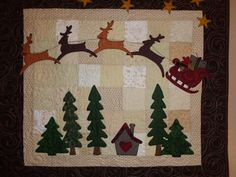 Reindeer and Sleigh Christmas Wall Art by QuiltedbyChelle on Etsy