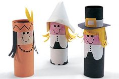 Thanksgiving paper pilgrims and indians by FamilyFun