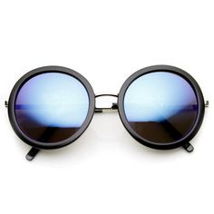 ZeroUV Retro Glam Revo Mirrored Lens Round Fashion Sunglasses