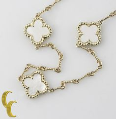 """14k Yellow Gold Chain Necklace with Mother-of-Pearl Clover Motif 16"""" #Unbranded #Choker"""