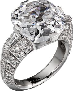 CARTIER. Ring - platinum, one 10.00-carat D IF type IIa cushion-shaped diamond, tapered diamonds, brilliant-cut diamonds.
