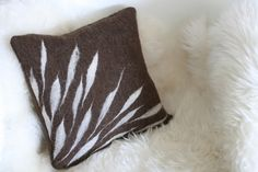 Petals Handfelted Throw Pillow Reserved for Byung by reyaveltman