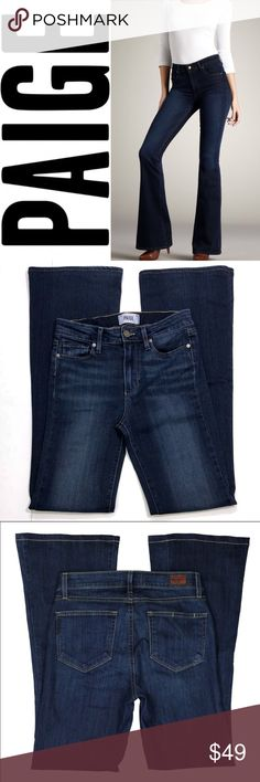 "Paige High Rise Bell Canyon ✔️54% Rayon•23% Cotton•22% Polyester•1% Elastane ✔️Rise: 9.5"" ✔️Inseam: 32.5"" ✔️Excellent Used Condition ✔️1723-5 PAIGE Jeans"