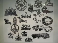 Motifs of brooches and other ornaments as well as fire steels. From the National Museum of Finland.