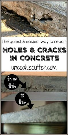 How to cheaply and easily repair cracked concrete. A quick little DIY project with a big impact in your driveway, front walk or any concrete. Repairing Concrete Steps, Cement Steps, Concrete Repair Products, Concrete Porch, Concrete Stairs, Diy Concrete, Home Renovation, Repair Cracked Concrete, Kitchen Cabinets Repair
