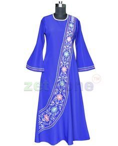 Blue In Color, This Abaya By Zet Zone Exudes Loads Of Feminine Charm. A Real Visual Delight, It Showcases Multi Resham Thread Embroidery In Front. The Leafy Weaved Design & Bell Sleeves Further Add To Its Allure. Team This Poly Fabric Dress In Any Party.