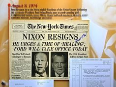 On August 9, 1974, the New York Times reported on President Nixon's resignation.