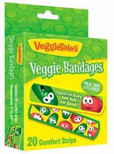 """Introducing Veggie Bandages - the fun comfort strips that feature Bob & Larry with the sentiment that reminds kids """"There's no hurt too big for God!"""" Perfect little gift for that special child in a st"""