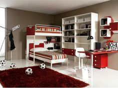 Modern Boys Bedroom with Football Themed wit Red and White Colours