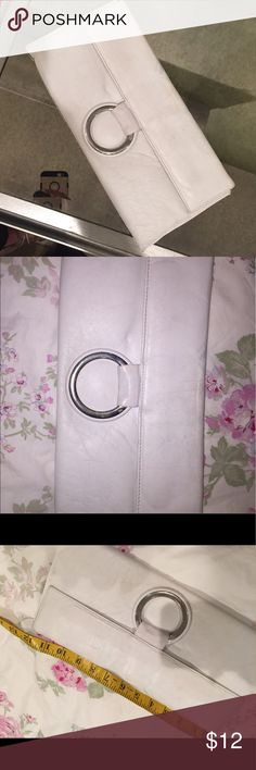 White leather clutch Magnet snap to close- perfect for spring and summer- made in Spain zeus Bags Clutches & Wristlets