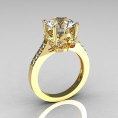 French Bridal 14K Yellow Gold 3.0 Carat White by artmasters