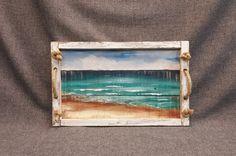 Decorative tray Beach decor Barn wood by TheWhiteBirchStudio