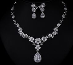 Wedding Diamond Necklace With Earrings