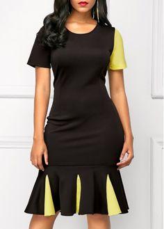 Black Frill Hem Short Sleeve Sheath Dress on sale only US$32.53 now, buy cheap Black Frill Hem Short Sleeve Sheath Dress at liligal.com