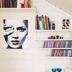 Bookshelves With Books and CDs