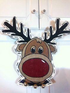 Reindeer Burlap door hanger! Reindeer Head, Burlap Door Hangers, 4th Of July Wreath, Christmas Crafts, Holidays, Projects, Gifts, Log Projects, Holidays Events
