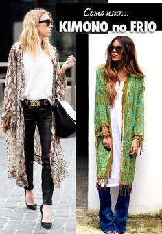 """Kimono em japonês significa literalmente """"coisa de vestir"""". Considerado o traje ´tipico ou tradicional japonês, é sinônimo de peça principal. Paul Poiret, na década de 1920, foi o pioneiro em trazer influências orientais para a moda ocidental, popularizando-o. Agora eles voltaram como peças super estilosas e trazem muito estilo ao visual! O kimono continua em alta nesse inverno. No frio, essa peça substitui o antigo casaco. Prefira modelos longos, mais atual, mas cuidado com a proporção! Se…"""