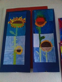 zonnebloem in 4 stukken met 4 verschillende materialen (inkt, potlood, wasco, stift) groep 8