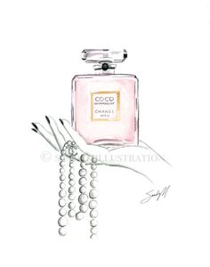 Chanel Coco Mademoiselle illustration by Fashion Illustrator SANDY M.