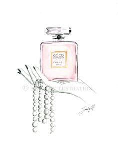 Chanel Coco Mademoiselle illustration by Fashion Illustrator SANDY M.
