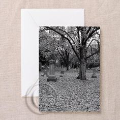 Silent Eternity Cemetery Gothic Greeting Card  by DesignDivergent, $6.50
