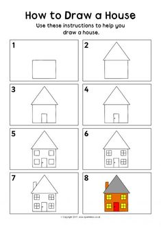 How to Draw a House Instructions Sheet Simple House Drawing, House Drawing For Kids, Drawing Lessons For Kids, Drawing Tutorials For Kids, How To Draw House, Basic Drawing For Kids, Cute Drawings For Kids, Drawings For Boyfriend, Kindergarten Drawing