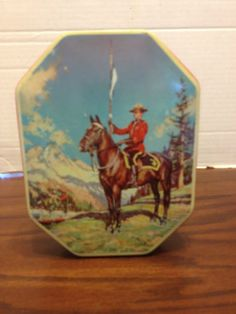 Vintage George W. Horner & Co. Boy Blue Toffee Tin Canadian Mountie Lid