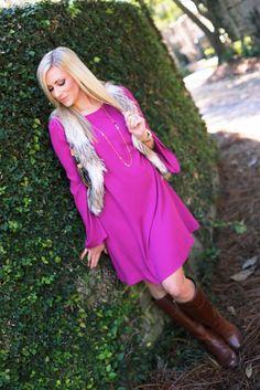 Pink Blush Look 2: Magenta Chiffon Bell Sleeve Dress - Bikinis & Brunch
