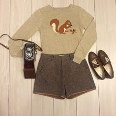 shorts or tweed skirt, sweater, oxfords or oxford heels