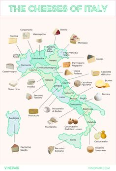 MAP: The Iconic Cheeses of Italy. Famous cheeses from every region of Italy.