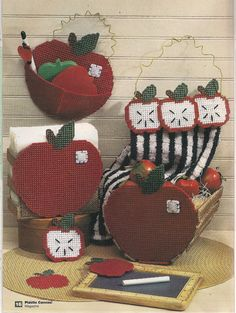 Country Apples Kitchen Set Plastic Canvas by needlecraftsupershop, $4.99