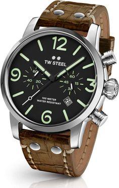 55c5d26be90 Men s Tw Steel Maverick Chronograph Leather Strap Watch