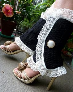 Victorian elegance gets a fresh look with my latest crochet legwarmers! This cozy, darling set is stitched up in double crochet and trimmed with lace. Worn over pumps...they are very sexy!!  I love them with tailored shorts and minis...and when the w Hottest Legwarmer!