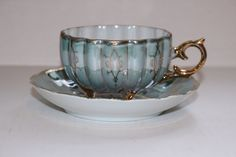 Royal Sealy 1950s Footed Teacup Saucer Porcelain China Irridescent Seafoam Green Teal Gold Trim Vintage Collectible Dining Serving by TresorsEnchantes on Etsy