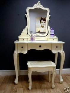Chic french vanity. The Audrey poster proves this belongs in my room...