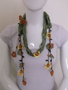 Crochet necklace scarf oya handmade women girl by TurkishDesing