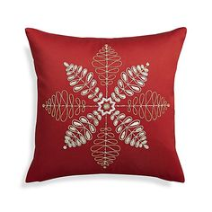 """Flurry Red 18"""" Snowflake Pillow with Feather-Down Insert"""