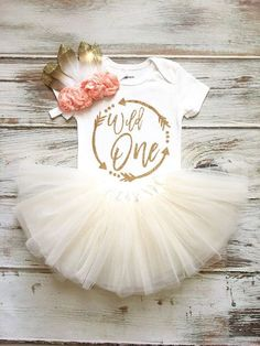 Wild One Birthday Girl- Wild One Birthday- Wild One Birthday Outfit- Wild One Shirt- Boho Birthday Girl- Birthday Girl Outfit Ivory Tutu Wild One Ivory Peach & Gold Sparkle Birthday Outfit! Our signature tutus have 1st Birthday Party For Girls, First Birthday Themes, First Birthday Outfits, Birthday Ideas, Diy 1st Birthday Onesie, Birthday Photos, Birthday Decorations, Birthday Gifts, Twins 1st Birthdays