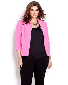The most coveted blazer of the season? One with minimalist details and a cropped silhouette for an ultra-edgy and modern vibe. Plus size, 3/4 sleeves, side slit pockets. 22 inch back length. The style update your work week has been waiting for.