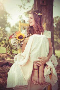 Farm wedding barefoot bride