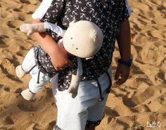 """Jersey """"Schiff Ahoi"""" kombiniert Jersey """"Basic Love"""" und Bündchen """"Luna"""" genäht wurde ein Shirt """"Meeri"""" & Hose """"Leevi"""" von Susi´s Kreation - kurzes Shirt & Hose - Sommer - Puppenkleidung """"Meeri Mini"""" - Puppen - Krümmel - Nähen - Jungen - eBook - Stoff - Glückpunkt."""