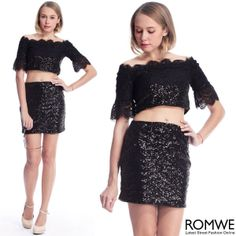 ROMWE Black Sequined Short-sleeved Blouse. #RomwePartyDress