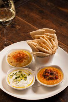 Mediterranean Plate - Classic Hummus, Cucumber-Feta Cream, Triple Pepper Hummus, Toasted Pita  chwinery.com