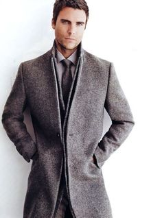 Grey & Grey. Men. Clothing. Fashion. Clean. Modern. Minimal. Fresh. Autumn. Core Coat. Handsome. Layers. Dressed. Proper. Trend. Wool. Tie & Shirt. Style.
