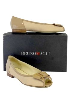 Bruno Magli- Beige Patent Leather Peep Toe Flats Sz 7.5 | Current Boutique