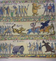 E H Shepherd drew these modifications of the Battle of Hastings record. Winnie-the-Pooh was first published on 10/14/1926. Battle of Hastings was on 10/14/1066.