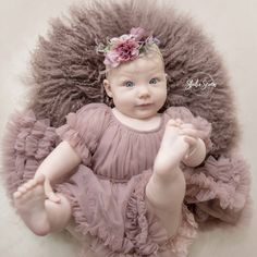 Dolly By Le Petit Tom - Baby shoot Frilly Dresses, Girls Dresses, Flower Girl Dresses, Mauve Dress, Toms, Maternity, Studio, Wedding Dresses, Baby