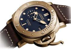 Panerai PAM 671 Luminor Submersible Bronzo Blue 47mm (1950 3 Days Automatic) - detail - Perpetuelle
